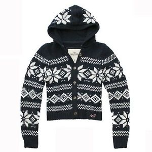 Hollister fair isle hooded cardigan